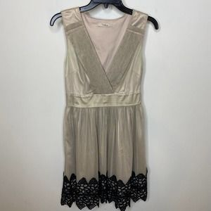 Darling taupe mesh and lace accent dress